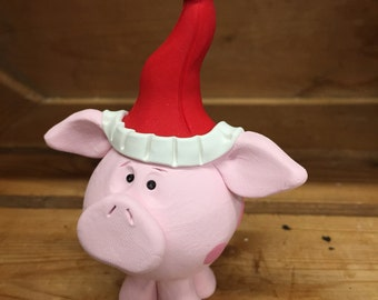 Handmade Pig Christmas Ornament, Polymer Clay Decoration, Holiday Farm Animal Pig in Santa Hat