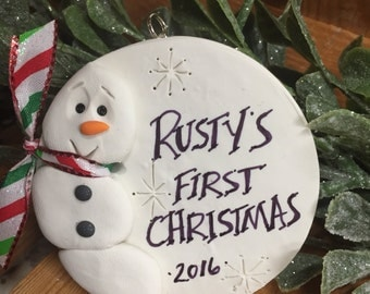 Christmas Ornament Personalized Baby's First Christmas, Snowman, New born holiday Custom Personal Ornament 2016