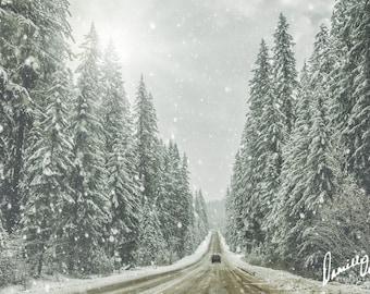 Oregon Photography | Winter Photo | Roadtrip Photo | Snow | Travel Print | Forest Photograph | Cascade Mountains | Wanderlust