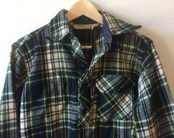 Vintage LLBean Trapper Pullover Shirt Jacket Lumberjack Tartan Forest Green Plaid