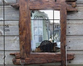 Driftwood / rustic style mirror & shelf in recycled pine with dark oak beeswax finish