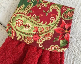 ON SALE Hanging Kitchen Towel  - Christmas Paisley Poinsettia Gold Shimmer Outline Red Diamond Terry Cloth Towel Button Closure
