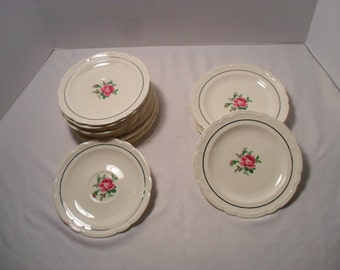 French Saxon China Lot of 12 Pieces 4 Small Plates and 8 Saucers Pink Rose Pattern