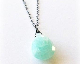 Large Aquamarine Gemstone Necklace
