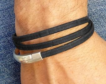 Vegan Leather Bracelet for Men, Black Wrap Bracelet, Triple Wrap Bracelet, Eco Friendly Jewelry for Men, Magnetic Clasp Bracelet, Vegan Cuff