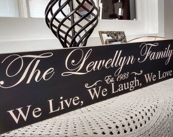 Personalized Family Name Sign, Family Name Sign, We Live, We Laugh, We Love, personalized gift, custom sign, family name, established date