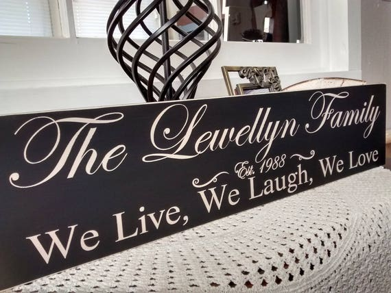 Personalized Family Name Sign, We Live, We Laugh, We Love, personalized gift, custom sign, family name, established date