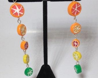 Long Citrus Dangle Earings