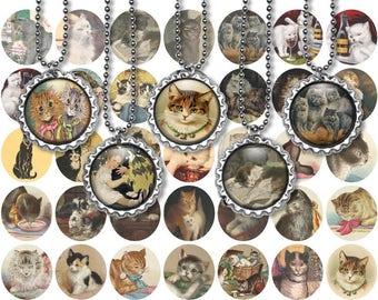 Printable Vintage Victorian Cats Digital Collage Sheet - 1 Inch circles - JPEG - Bottlecap images - Cabochon - Instant download - CU use ok