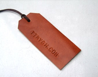 Personalized Leather Luggage Tag, Hand Stamped Leather Tag, Gift for Her, Gift for Him, Handmade in UK