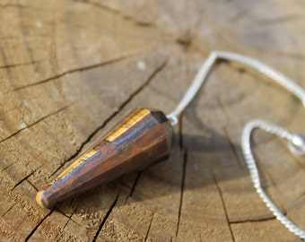 Reiki Attuned Tigers Eye Pendulum or Necklace
