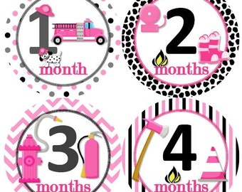 Baby Monthly Milestone Growth Stickers Girl Fireman Firefighter Fire Truck Engine Theme MS934 Baby Girl Shower Gift Baby Girl Photo Prop
