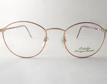 Steampunk Eyeglasses, Womens Oval Eyeglass Frames, Chain Eyeglasses, Copper Tortoise Shell Eyeglasses, Lightweight Glasses