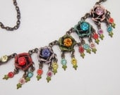 "Vintage Enamel Flower Necklace - Multi Color Painted Flower Dangles - Faceted Glass Rhinestones - Aged Bronze Chain - 17"" to 19"""