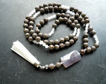 Chain, Mala, Zen, meditation, Jasper, rock crystal, agate, yoga