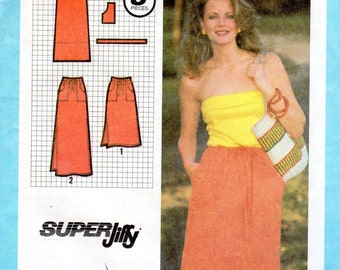 Easy 1980s Women's Skirt Pattern - Size Small (10-12) - Simplicity 9031