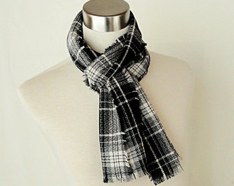 Black Gray Plaid Scarf  -  Classic Plaid Wool Scarf .