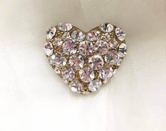Heart Rhinestone brooch silver and gold, Wedding, Bouquet, Wedding Gown, Valentine's Day, Love Expression, Gift, Christmas