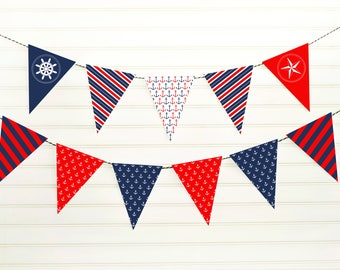 Printable Nautical Banner - Nautical Pennant Banner - Nautical Baby Shower - Nautical Birthday - Patriotic Banner - 4th of July Banner -