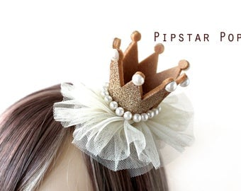 Gold and Pearly Princess crown hair clip (5 color option)  Lolita glitter crown barrette,birthday crown,party favor, princess peach cosplay