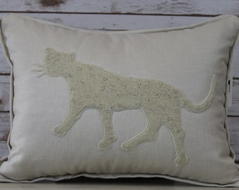 Handmade Cream Linen Pillow with Appliquéd Crewel Embroidered Leopard