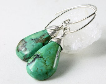 Turquoise Earrings, Sterling Silver wire wrap, fine earrings, blue gemstone, genuine turquoise, gift for her, December birthstone, 3993