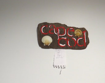 """Cape Cod Sign 10.5""""x 5.5"""" Handpainted on Driftwood"""