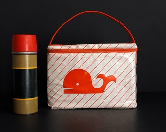Vintage Vinyl Insulated Lunch Box Cooler Bag Bright Orange Whale on White
