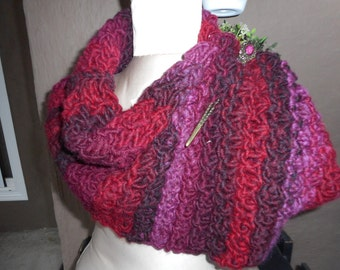 Hand Knit Cowl, Hand Knit Scarf, Infinity, Burgundy Cowl