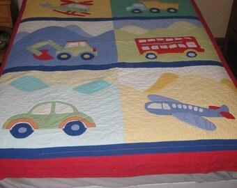 Vintage Hand Stitched, Quilt, Boys Bed Quilt, Bedding