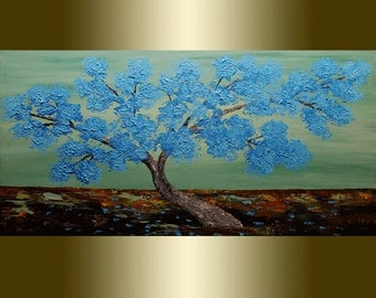 Acrylic painting Blue Blooming Tree,Palette Knife.