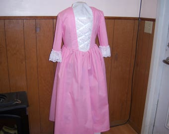 Girls Colonial Costume / Dress and Pinner OR Mob Cap--- size 7/8 Available--Rose Quartz / Pink / Williamsburg/ Hamilton Era