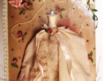 OOAK Mixed Media Canvas Vintage Shabby Chic French Country Art Roses Mannequin Gown Dress Wall Decor Gift
