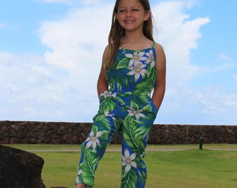 Hawaiian Dress, Girls Hawaiian Jumpsuit, Hawaiian Outfit for Little Girls, Toddler Summer Outfit, Little Girls Summer Jumpsuit
