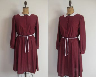 1970s maroon semi sheer secretary dress • 70s brick red and white swiss dot day dress • vintage bits and pieces dress