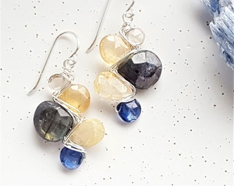Sterling Silver, Smoky Quartz, Hessonite Garnet, Labradorite, Golden Rutilated Quartz & Kyanite Woven Earrings