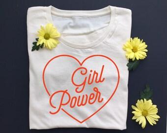 GIRL POWER - Women's Tee - Revolution - Equality - Feminist Shirt- Natural White - Organic T-Shirt