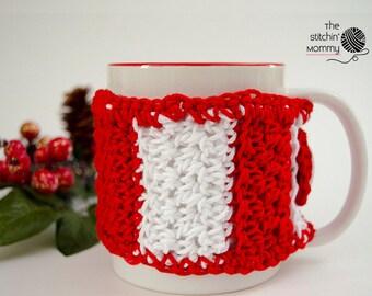 Candy Cane Striped Mug Cozy - Crochet Pattern