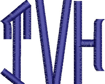 Three Initial  Machine Embroidery Monogram Font