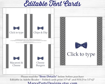 Little Man Baby Shower Tent Cards EDITABLE - Food Labels Buffet Place Cards Bow Tie Onesie Boy Navy Suspenders - Printable Instant Download