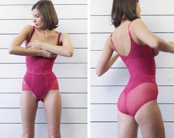 Vintage fuchsia pink tight waist bust body shaper bodysuit leotard lingerie XXS XS