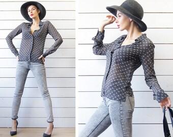 AGNES B vintage black white floral print pure silk shirt blouse top S