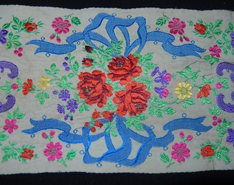 "Antique woven jacquard cream silk ribbon unusual roses & ribbon garland design c1910 38 ins L x 4 1/4"" W"