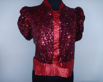 Vintage 40's red sequins & satin jacket top blouse black tulle short sleeves bow evening late 30's early 40s WW2