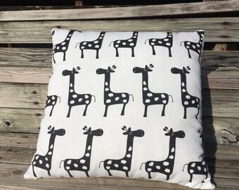 Giraffe Pillow, Black Pillow, Zoo Animal Pillow, Giraffe Cushion, Playroom Decor, Kids Room Decor, Teens Room Decor, Den Decor, Zoo Theme