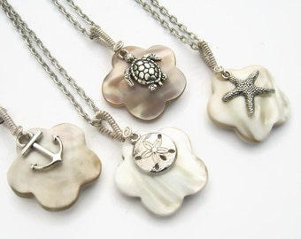 Beach Charm Necklace, Mother of Pearl Necklace, Anchor Jewelry, Personalized Starfish Necklace, Shell Neckace, Choose Your Charm & Length