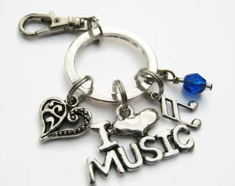 I Love Music Keychain, Musical Zipper Pull, Antiqued SILVER, Music Keychain, CHOOSE Your Instrument, Personalized Accessory, Musical Gift