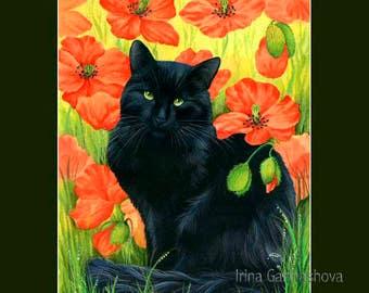 Black Cat Print Black Poppies by Irina Garmashova