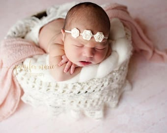 IVORY HEADBAND, Ivory Headband Baby, Photography Prop, Headbands, Infant Headbands, Newborn Headbands, Baby Headbands, Newborn Photo Prop