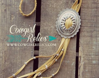 Leather Fringe Western Necklace-Bolo Necklace, Silver Concho, Appaloosa Necklace, Braided Leather, Deerskin